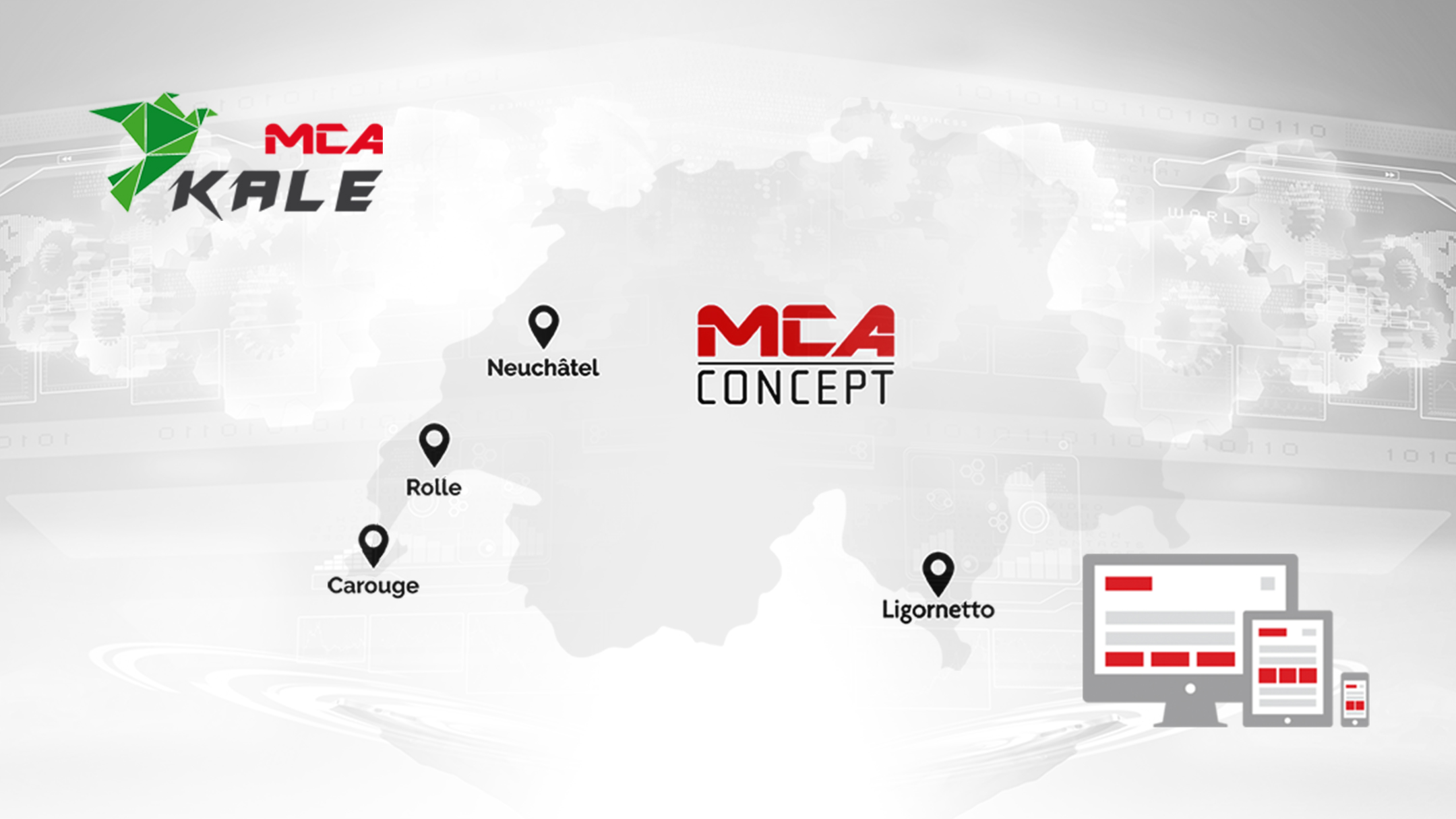 Karte der verschiedenen Adressen der Firma MCA Concept